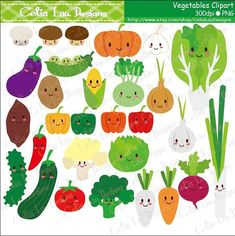 Cute Vegetables Digital Clip Art set includes 29 cute graphics.    Graphics are PERFECT for the Scrapbooking, Cards Design, Stickers, Paper
