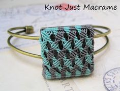 "Micro macrame bangle by Sherri Stokey of Knot Just Macrame  Note: less than 1.5"" done with micro cord. Also comparison of sizes"