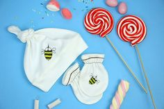 Designer baby SET  Baby bee stile Hat  baby bee by rockbabies