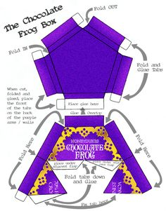 chocolate frog box template - children's Potter party