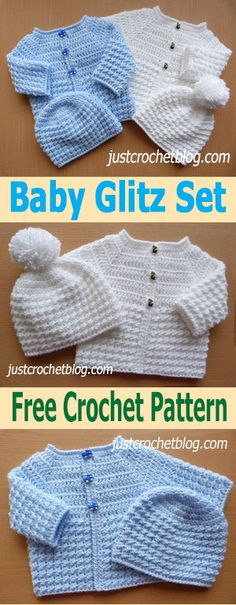 Free baby crochet for baby glitz coat and hat set, made in soft yarn with a shinny tint. #justcrochetblog #freebabycrochetpatterns #crochetbabysweater