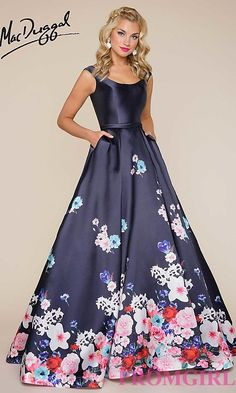 Long Navy Blue Print A-Line Prom Dress Floral Prom Dresses f3ee87a469ad