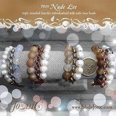 Xclusive Edition TRIO Nude Lee… triple stranded bracelet individualized with nude tone beads http://www.jonicdsynznxpressionz.com/#!/oh-i-am-collection/  #sheisjonic #2014triocollection #trionudelee