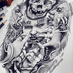 Work from the past✏ #flashbackfornow While workin for another piece hope everyone have good day & night #sketch#art#arte #design#illustration #bic#hightone #tattoo#ink#inked #lettering#model #skull#love#hate #sick#artfido #smoke#asia#ph