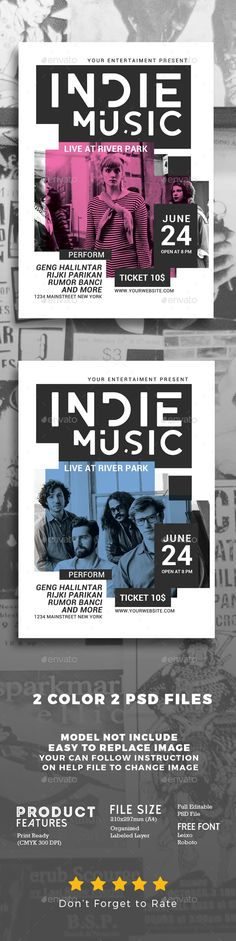 Indie #Music #Flyer - #Events Flyers Download here:  https://graphicriver.net/item/indie-music-flyer/20120211?ref=alena994