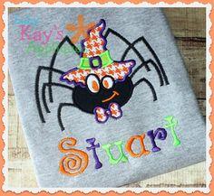 Baby Kay's Appliques - Witchy Spider Boy 4x4, 5x7, 6x10, 8x8, $4.00 (http://www.babykaysappliques.com/witchy-spider-boy-4x4-5x7-6x10-8x8/)