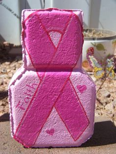 Handpainted Breast Cancer Awareness  Patio Paver with pink hearts