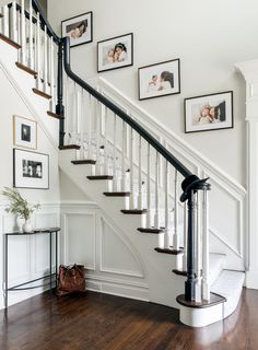 Stairway Decorating A Bold and Dramatic Family Home Staircase Wall Decor, Stairway Decorating, House Staircase, Staircase Remodel, Staircase Makeover, Stair Decor, Staircase Design, Picture Wall Staircase, Stairway Paint Ideas