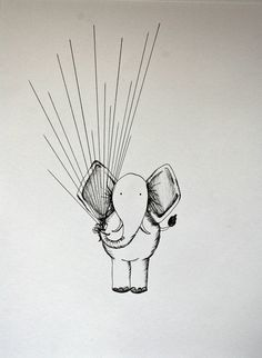 Guest book option - i like this way more than the coloring pages! the elephant is holding balloon strings and the balloons would be everyones fingerprint! doesn't have to be an elephant, it can be anything... maybe get david to draw it? or i have some artsy friends that have done one for me before! (Fingerprint Guest Book by Usanii on Etsy)