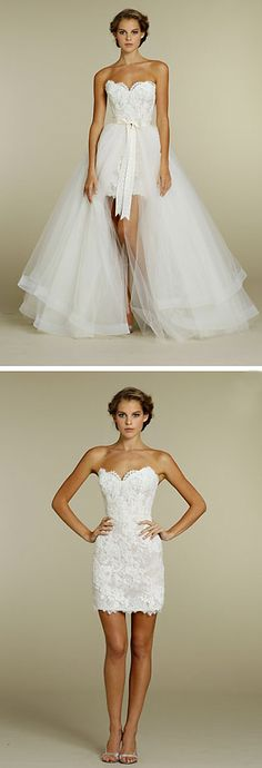 tara keely wedding dress ivory lace mini dress, ivory moire ribbon at natural waist, tulle overskirt with horsehair accented hem and chapel train.