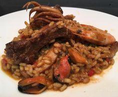 #arroz mar y tierra con costilla de #cerdo #chipirones...