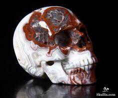 Red Crazy Lace Agate Crystal Skull - Skullis