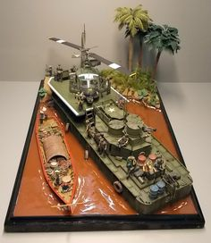 "scale diorama Vietnam war themed ""Brown Waters"" from Military Miniatures HQ 🏆🏆🏆🏆🏆🏆🏆🏆 . Brown Water Navy, Military Figures, Military Modelling, Model Ships, Art Model, Vietnam War, Plastic Models, Model Trains, Scale Models"