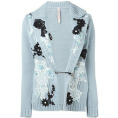 Antonio Marras Embroidered Cardigan (£1,140) ❤ liked on Polyvore featuring tops, cardigans, blue, embroidered top, embroidery tops, antonio marras, blue top and blue cardigan