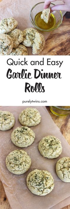 Gluten free garlic dinner rolls. Soft and chewy. So good! Made in 15 minutes and with just 6 simple ingredients. One ingredient might surprise you. A must make dinner roll the whole family will love. Plus they are gluten-free, grain-free and paleo! Easy and fun recipe to make to add to any meal.