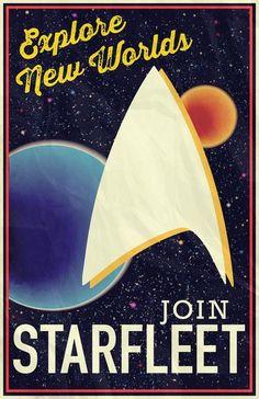 Star Trek: Join Starfleet Art Print it is just soo nerdy and so retro! For the Nerd Wall Deviant Art, Akira, Star Wars, Starship Enterprise, Star Trek Universe, Nerd Love, Geek Out, Journey, Travel Posters
