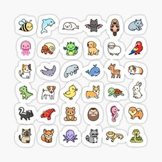 Tumblr Stickers, Anime Stickers, Cool Stickers, Mini Drawings, Cute Animal Drawings, Journal Stickers, Scrapbook Stickers, Homemade Stickers, Animal Doodles