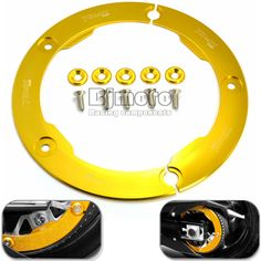 check discount bjmoto gold motorcycle cnc aluminum transmission belt pulley protective cover #motorcycle #transmission