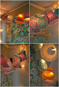 Paper cup lampshades lights