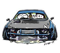 "car illustration""crazy car art""jdm japanese old school ""DORISHA(DRIFT CAR)""original characters ""mame mame rock"" / © ozizo""Crazy Car Art"" Line stichersLINE STOREhttps://store.line.me/stickershop/product/1254713"