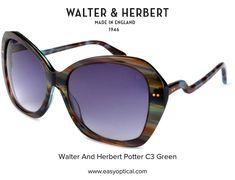 Walter and Herbert Potter Black Sunglasses, England, Green, English, British, United Kingdom