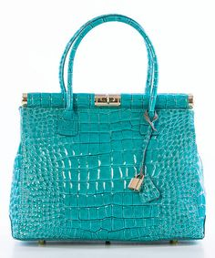 Another great find on #zulily! Teal Crocodile-Embossed Leather Satchel by Lucca Baldi #zulilyfinds
