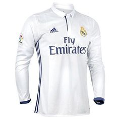 Men 123490: Real Madrid 2016 - 2017 Home Long Sleeve Jersey Adidas Original Official -> BUY IT NOW ONLY: $44.99 on eBay! Real Madrid, Jersey Adidas, Ronaldo Jersey, Motorcycle Jacket, Street Style, Madrid 2016, The Originals, Long Sleeve, Womens Fashion