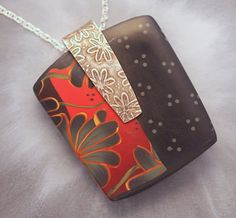 large pendant with large silver bail and floral by kimledesigns*******love this bail