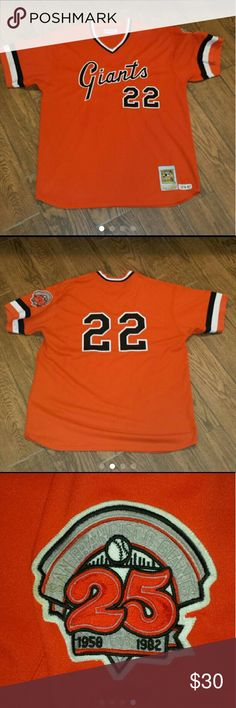 Retro San Francisco Giants jersey Sz XL Embroidered Mitchell & Ness Cooperstown Collection #22. Very small spot near lower front embroidery  (see pic 4). No tag but told it was an XL. Lightly worn and in good condition. Comes from a smoke free home! Mitchell & Ness Shirts