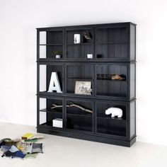 Vitrineskab - sort | Oliver Furniture