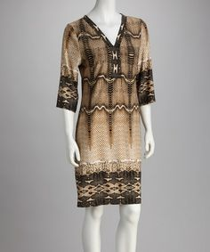 Take a look at this Brown Snakeskin Dress - Women by Voir Voir & Phase Seven on @zulily today!