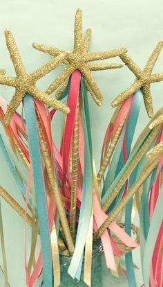Starfish Wand - Glittered Gold or Silver with Ribbons - Princess/Mermaid Wands/Mermaid Parties/Beach Photo Prop/Beach Birthday/Mermaid Wand (kids wedding favors ribbon wands) Mermaid Theme Birthday, Little Mermaid Birthday, Little Mermaid Parties, The Little Mermaid, Mermaid Crafts, 6th Birthday Parties, 3rd Birthday, Birthday Ideas, Golden Birthday