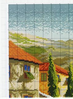 Funny Cross Stitch Patterns, Cross Stitch Landscape, Bookmarks, Projects To Try, Bird, Pictures, Crafts, Painting, House