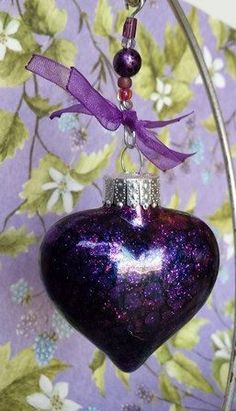 Purple Heart Glass Ornament with Alcohol Ink ❤