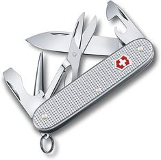 Pioneer Alox Pocket Knife with Scissors. Swiss made pocket knife with 9 functions and high-grade Alox scales. The Pioneer X is the first Pioneer Swiss Army Knife ever to feature a pair of precision scissors. Victorinox Alox, Victorinox Classic, Victorinox Pocket Knife, Victorinox Swiss Army Knife, Swiss Army Pocket Knife, Best Pocket Knife, Pocket Knives, Aqua Blue, Army Usa