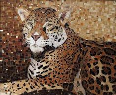 Julie Mazzoni, The Golden Leopard. Stained glass with gold smalti peppered throughout. A gift for my in-law's golden anniversary. Mosaic Diy, Mosaic Crafts, Mosaic Glass, Mosaic Tiles, Stained Glass, Glass Art, Mosaic Designs, Mosaic Patterns, Art Pierre