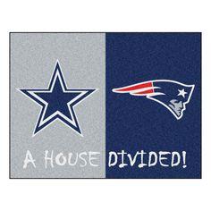 Dallas Cowboys - New England Patriots NFL House Divided Rug