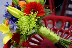 Colourful Bridal Bouquet with agapanthus, fuji mums, roses, lilies, and gerbera daisies