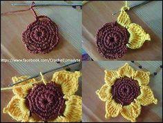 Best 12 Sunflower bag pattern by Emma Du Crochet Coaster Pattern, Crochet Motif, Crochet Doilies, Crochet Stitches, Knit Crochet, Crochet Flower Tutorial, Crochet Flower Patterns, Crochet Designs, Crochet Flowers