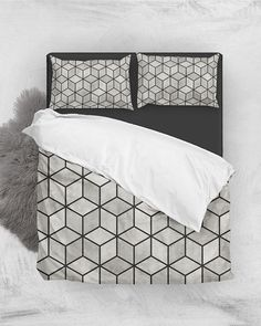 Concrete Cubes // Duvet Cover + Pillow Shams by Zoltan Ratko // This pattern design is also available as a wall art, apparel, tech and home product. Bedding Sets Online, King Bedding Sets, Pillow Shams, Bed Pillows, Linen Bedding, Grey Bedding, Bed Linen, Natural Bedding, Bedding Websites