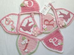 flowers and birds pink crochet bunting