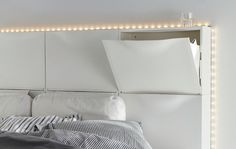 Cool headboard idea using IKEA Trones shoe storage units