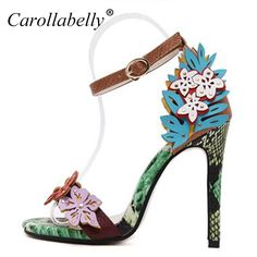 Floral multi colour high heel sandals