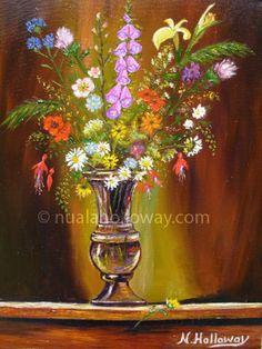 """Wild Flowers in Antique Vase"" by Nuala Holloway - Oil on Canvas Life Irish Art, Still Life, Wild Flowers, Oil On Canvas, Vase, Antiques, Painting, Antiquities, Antique"