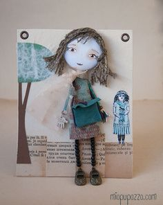 Art Doll Brooch Little Girl mixed media collage by miopupazzo, $27.00