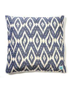 Karma Living Blue Diamond Ikat Pillow