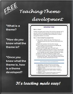 (FREE)  Teaching the Theme Student Handout - the understanding of theme development is something difficult for some students.  Use this FREE handout to help guide your students to a better understanding of theme in the English Language Arts.