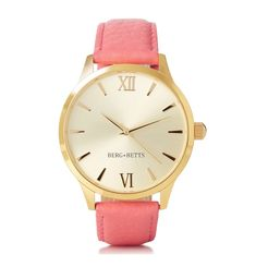 Sustainable and ethically made round watch features a mirrored gold stainless steel case, gold markers and a sustainable coral pink leather band meticulously crafted from surplus leather that would have otherwise gone to waste. Coral Pink, Pink And Gold, Leather Scraps, Gold Background, Watch Faces, Timeless Classic, Pink Leather, Stainless Steel Case, Sustainable Fashion