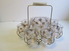 8 Gold Leaf Drinking Glasses and Matching ice by TheGrooveVintage, $59.95