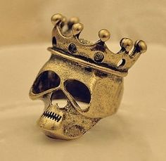 RARE Size 4 Small SKULL CROWN Bronze Biker Ring Womens Goth Punk FREE SHIPPING. CLICK ON PIC TO GO TO ITEM.